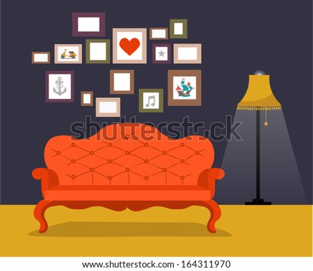 Vector vintage retro interior with sofa and frames for pictures on the wall in flat design - stock vector