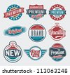 Vector vintage retro label and badge set - stock vector