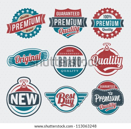 Vector vintage retro label and badge set - stock vector