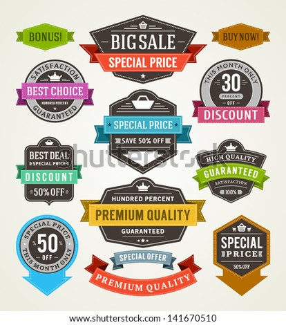 Vector vintage sale labels and ribbons set design elements Premium quality, discount, price illustrations. - stock vector