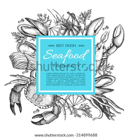 Vector vintage seafood restaurant illustration. Hand drawn banner. Great for menu, flyer, card, seafood business promote.