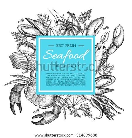 Vector vintage seafood restaurant illustration. Hand drawn banner. Great for menu, flyer, card, seafood business promote.