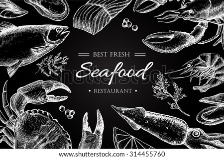 Vector vintage seafood restaurant illustration. Hand drawn chalkboard banner. Great for menu, banner, flyer, card, seafood business promote.