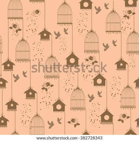 vector vintage seamless background with cages and birds