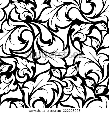 Vector vintage seamless black and white floral pattern.