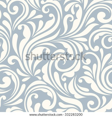 Vector vintage seamless blue and white floral pattern. - stock vector