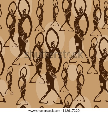 Vector vintage seamless pattern with african dancers - stock vector