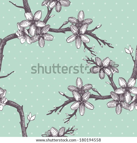 Vector vintage  seamless pattern with hand drawn blooming fruit tree twig. Spring flower illustration on mint background - stock vector