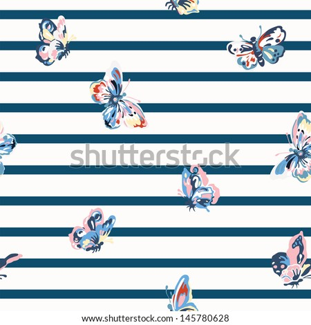 Vector vintage seamless pattern with stripes and butterflies - stock vector