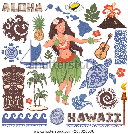 Vector Vintage set of Hawaiian icons and symbols - stock vector