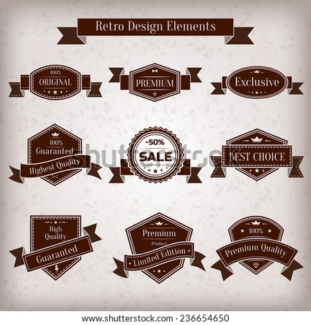 Vector vintage set of labels. Guaranted, premium quality, best choice, sale design element collection. Banners templates in retro style - stock vector