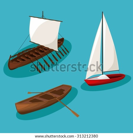 Vector vintage Ships image design set for your illustration, postcards, poster, labels, stickers and other design needs.  - stock vector