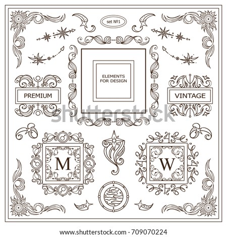 Vector Vintage Signs, Symbols, Cursors, Arrows For Design. Elements For  Frames,