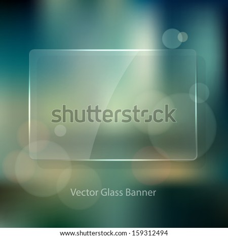 Vector vintage soft blurry background in the style of an unfocused film photograph with bokeh and glass badge. Cross process color effect. Transparent glossy banner. Retro look. - stock vector