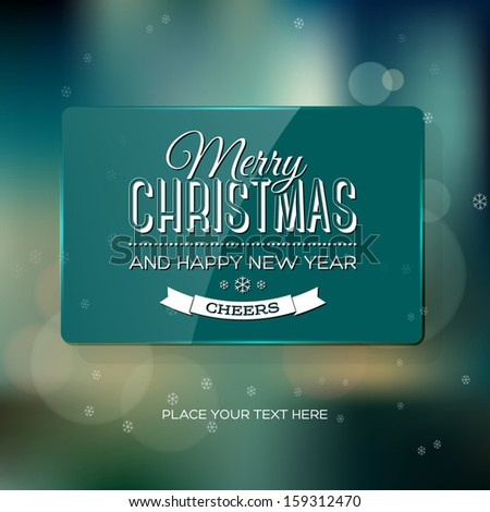 Vector vintage soft blurry teal christmas greeting card / poster with subtle bokeh and glossy banner. Cross process color effect. Retro look. Vintage film effect. Festive typography. - stock vector