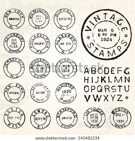 Vector Vintage Stamp Set. All pieces are separated and easy to edit. - stock vector