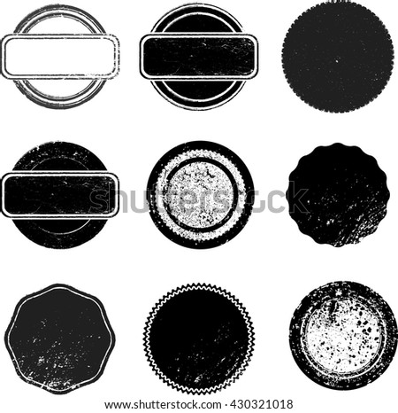 Vector Vintage Stamps Collection. Grunge Circles, Banners, Insignias , Logos, Icons, Labels and Badges.  Retro Frames for Emblems .