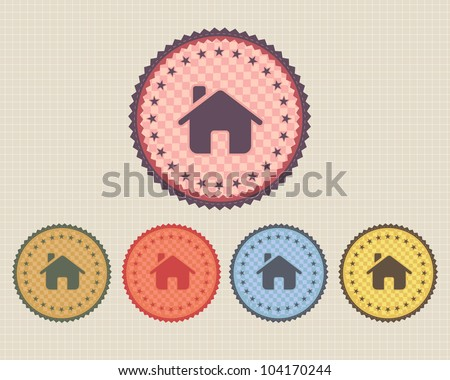 Vector Vintage Sticker Home Icon/Button and multicolored - stock vector