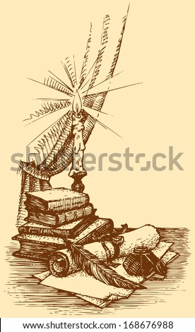 Vector vintage still life. Inkwell with a feather and a papers against old books and a burning candle  - stock vector