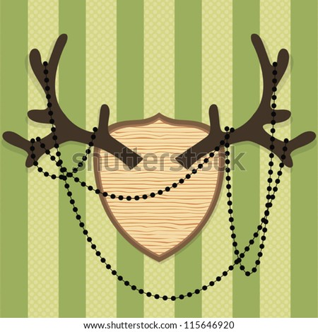 Vector vintage style antler on green striped background - stock vector