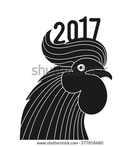 Vector vintage style illustration with cock black head. 2017 chinese new year. Rooster symbol logo for eastern calendar. Black and white typography poster - stock vector