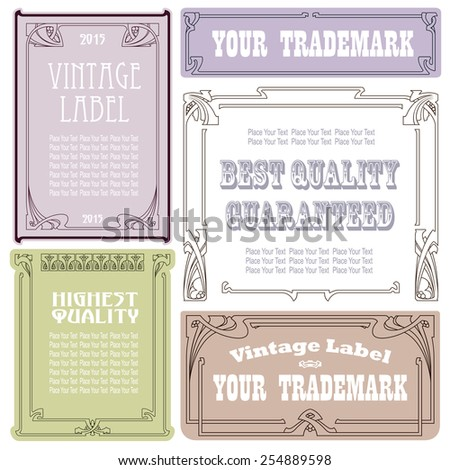Vector vintage style labels and tags on different versions for decoration and design  - stock vector