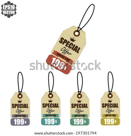 "Vector: Vintage Style Sale Tags Design By ""Special Offer And Price"" - stock vector"