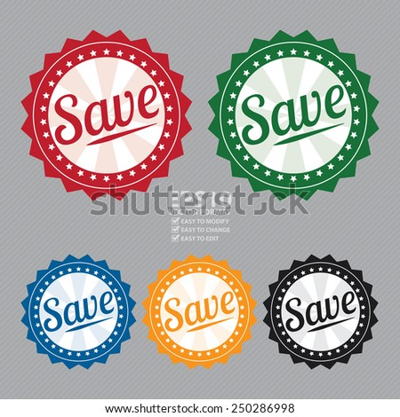 Vector : Vintage Style Save Icon, Sticker or Label - stock vector
