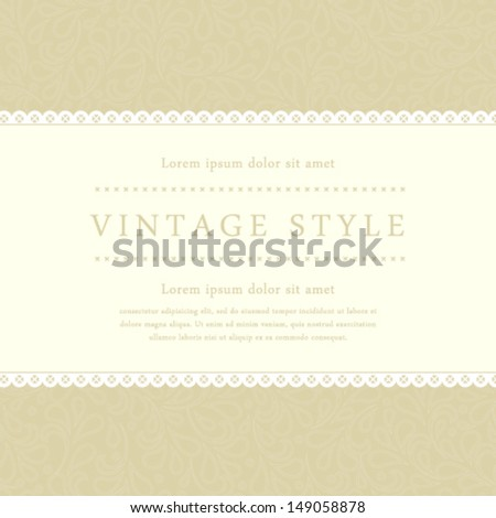 Vector vintage styled card with floral ornament design. Perfect as invitation or announcement. - stock vector