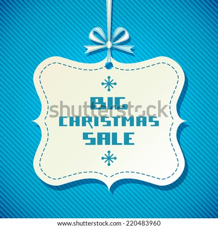 Vector vintage tag - Christmas sale. Blue background with ribbon and bow.Decorative illustration for print, web - stock vector