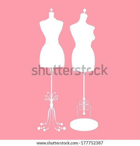 vector vintage tailor's mannequin for female body