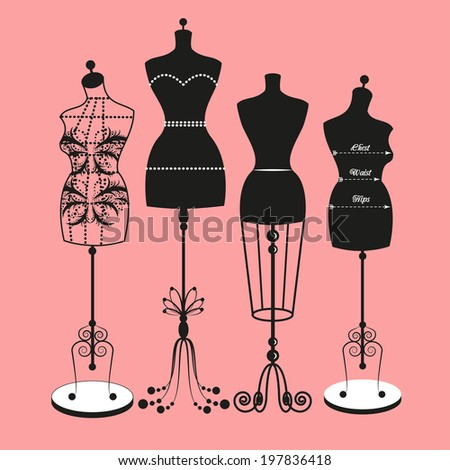 vector vintage tailor's mannequin for female body - stock vector