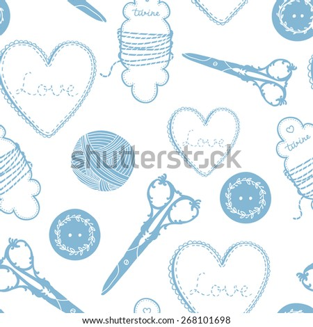 Vector Vintage Tailor Seamless Pattern - stock vector