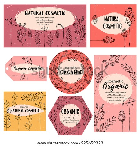 Vector Vintage Template Label Handdraw Flowers Stock Vector