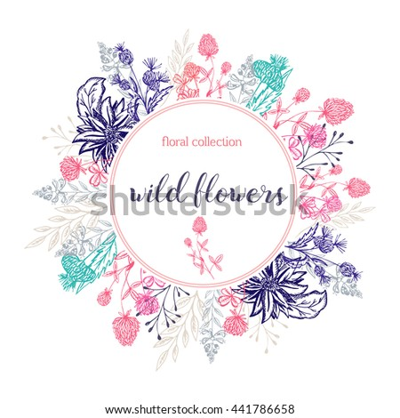 flower tags template free - hand drawn flowers wreath cute colorful stock vector