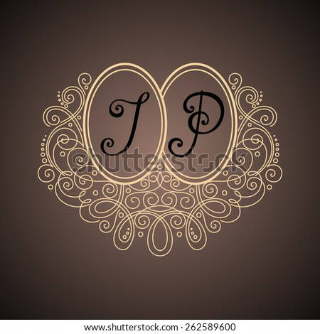 Vector Vintage Template with Ornate Monogram. Hand Drawn Border in Trendy Linear Style - stock vector