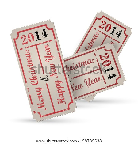 Vector vintage ticket - Christmas, year 2014