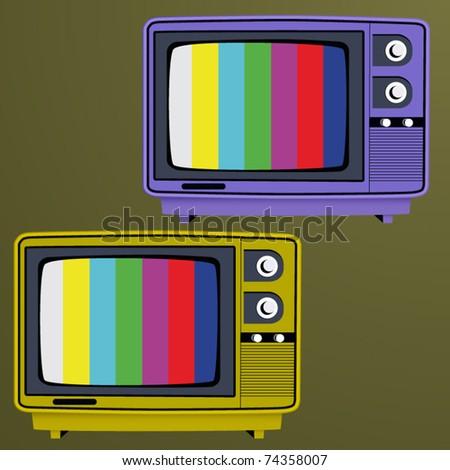 vector vintage tv set color - stock vector