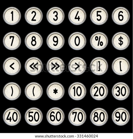 Vector vintage typewriter buttons - numbers (1, 2, 3, 4, 5, 6, 7, 8, 9, 10, 20, 30, 40, 50, 60, 70, 80, 90), brackets, percentage and darts. Isolated on black background. Letter/key of old typewriter. - stock vector