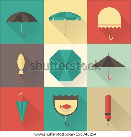 Vector vintage umbrellas - stock vector