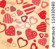 Vector vintage valentine's background with hearts and words - stock vector