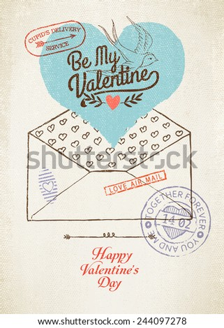 Vector vintage wall decoration poster layout on Valentine's Day | Retro looking romantic decoration template featuring envelope, heart, post stamps and titles - stock vector