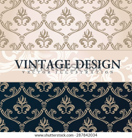 Vector vintage wallpaper. Gift wrap. Floral background with ornaments decorations branches curves - stock vector
