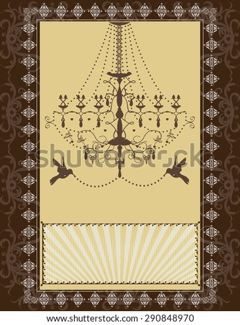 Vector vintage wedding card design - stock vector