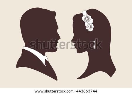 Vector vintage wedding design silhouettes of groom and bride - stock vector