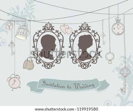 Vector Vintage  Wedding Invitation Card. Retro silhouettes - stock vector