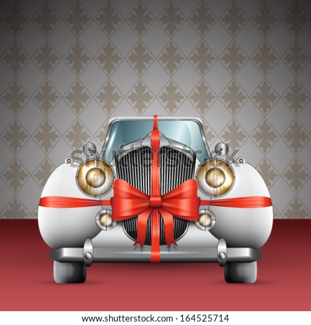 Vector vintage white car tied with red bow illustration - stock vector