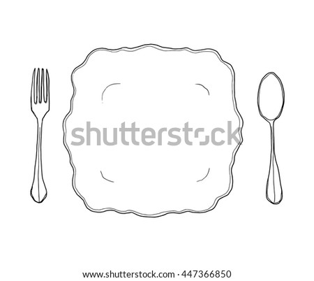 vector vintage white dish plate fork and spoon hand drawn line art cute illustration - stock vector