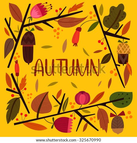 Vector vintagr autumn card with wreath from leaves and acorns. -stock vector - stock vector