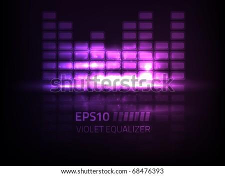Vector violet equalizer design - stock vector